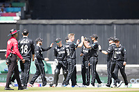 Team mates congratulate James Neesham (New Zealand) on the wicket of Dinesh Karthik (India) during India vs New Zealand, ICC World Cup Warm-Up Match Cricket at the Kia Oval on 25th May 2019