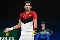 11th January 2020; Sydney Olympic Park Tennis Centre, Sydney, New South Wales, Australia; ATP Cup Australia, Sydney, Day 9; Serbia versus Russia;  Novak Djokovic versus Daniil Medvedev; Novak Djokovic of Serbia reacts after questionable call in his match against Daniil Medvedev of Russia - Editorial Use
