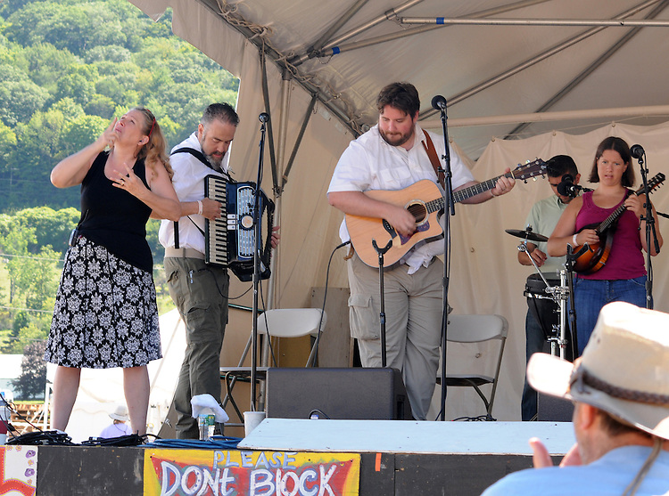 """Pesky J Nixon Band, performing during the 'Gospel Wake Up Call"""" Show, at the  Main Stage of the Falcon Ridge Folk Festival, held on Dodd's Farm in Hillsdale, NY on Sunday, August 2, 2015. Photo by Jim Peppler. Copyright Jim Peppler 2015."""