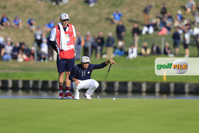 Rickie Fowler Team USA on the 15th green during Friday's Foursomes Matches at the 2018 Ryder Cup 2018, Le Golf National, Ile-de-France, France. 28/09/2018.<br /> Picture Eoin Clarke / Golffile.ie<br /> <br /> All photo usage must carry mandatory copyright credit (© Golffile | Eoin Clarke)