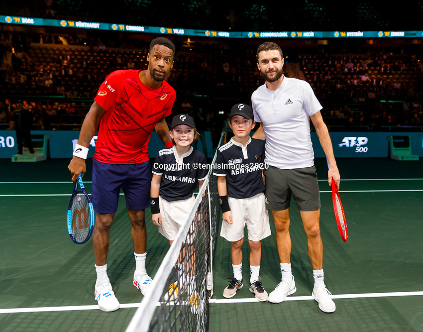 Rotterdam, The Netherlands, 9 Februari 2020, ABNAMRO World Tennis Tournament, Ahoy, Gael Monfils (FRA), Giles Simon (FRA).<br /> Photo: www.tennisimages.com