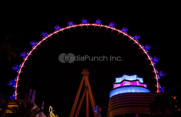 LAS VEGAS, NV - June 12, 2016:  The High Roller Observation wheel illuminated in Ranbow and Patriotic colors in tribute to the victims of the Orlando Shooting at The Linq in Las vegas, NV on June 12, 2016. Credit: Erik Kabik Photography/ MediaPunch