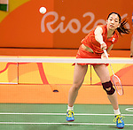 Misaki Matsutomo (JPN),<br /> AUGUST 11, 2016 - Badminton :<br /> Women's Doubles Group Play<br /> at Riocentro - Pavilion 4<br /> during the Rio 2016 Olympic Games in Rio de Janeiro, Brazil. <br /> (Photo by Koji Aoki/AFLO SPORT)