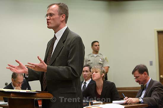 Washington County Attorney Brock Belnap. St. George - Preliminary hearing, Warren Jeffs trial, 5th District Court. 11.21.2006<br />