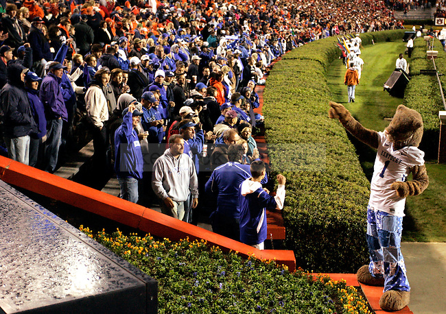 Scratch encourages fans to chant before the UK Wildcats entrance at the game against Auburn held at the Jordan-Hare Stadium Saturday. The Cats won 21-14.Photo by Zach Brake | Staff