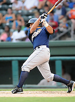 Outfielder Shane Brown (7) of the Charleston RiverDogs, Class A affiliate of the New York Yankees, in a game against the Greenville Drive on July 31, 2011, at Fluor Field at the West End in Greenville, South Carolina. (Tom Priddy/Four Seam Images)