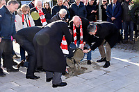 6th February 2020, Munich Riem Airport, Munich, Germany; Uli Hoeness, Karl Heinz Rummenigge, Christian Vorlander and Herbert Haimer at the laying of the foundation stone for a commemorative display case to commemorate the 62nd anniversary of the air crash at the former Munich Riem Airport, in which 23 people died, including eight Manchester United footballers