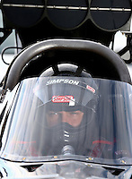 Sept. 1, 2013; Clermont, IN, USA: NHRA top alcohol dragster driver Shawn Cowie during qualifying for the US Nationals at Lucas Oil Raceway. Mandatory Credit: Mark J. Rebilas-