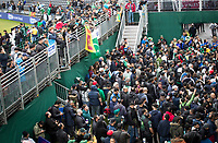 Fans congregate outside the dressing rooms waiting for a glimpse of the teams during Pakistan vs Sri Lanka, ICC World Cup Cricket at the Bristol County Ground on 7th June 2019