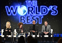 "PASADENA, CA - JANUARY 30: (L-R) Executive Producers Alison Holloway, and Mike Darnell, judge RuPaul Charles, and Executive Producers Ben Winston of ""The Worlds Best"" attend the CBS portion of the 2019 Television Critics Association Winter Press Tour at the Langham Huntington on January 30, 2019, in Pasadena, California. (Photo by Frank Micelotta/PictureGroup)"