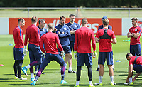 Gareth Southgate, England Manager talks to his players during an open England football team training session at Stade Omnisport, Croissy sur Seine, France  on 12 June 2017 ahead of England's friendly International game against France on 13 June 2017. Photo by David Horn/PRiME Media Images.