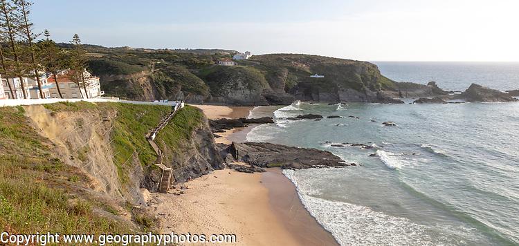 Sandy beach in bay between rocky headlands part of Parque Natural do Sudoeste Alentejano e Costa Vicentina, Costa Vicentina and south west Alentejo natural park, Zambujeira do Mar, Alentejo Littoral, Portugal, southern Europe