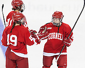 Emily Fulton (Cornell - 17) joins fellow starters Brianne Jenner (Cornell - 11) and Jillian Saulnier (Cornell - 19) on the blue line. - The Boston College Eagles defeated the visiting Cornell University Big Red 4-3 (OT) on Sunday, January 11, 2012, at Kelley Rink in Conte Forum in Chestnut Hill, Massachusetts.