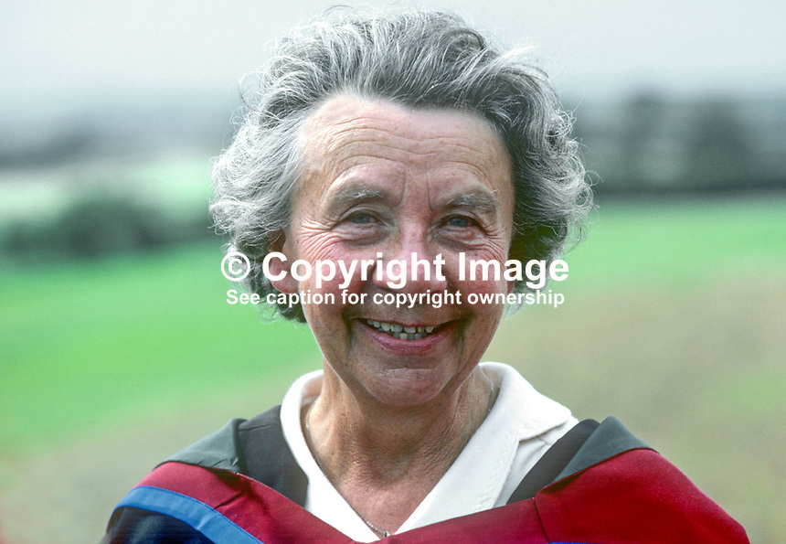 Evelyn Burges, wife, vice chancellor, who has received an honorary degree from the New University of Ulster at the 1982 summer graduations. It was for her contribution towards the founding of the university's Riverside Theatre. 19820700092EB1<br /> <br /> Copyright Image from Victor Patterson, 54 Dorchester Park, Belfast, UK, BT9 6RJ<br /> <br /> t: +44 28 90661296<br /> m: +44 7802 353836<br /> vm: +44 20 88167153<br /> e1: victorpatterson@me.com<br /> e2: victorpatterson@gmail.com<br /> <br /> For my Terms and Conditions of Use go to www.victorpatterson.com