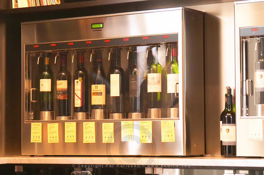 The interior of the wine bar Terrenos Vinotek. The machine that dispenses the doses of wine in a self service fashion. showing the selection of wines available.  Stockholm, Sweden, Sverige, Europe
