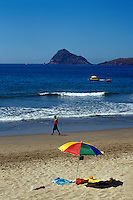 Beach with  Isla de Chivos or Goat Island and Isla de los Venados or Deer Island in background,  Mazatlan, Sinaloa, Mexico.