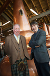 From left: Drew McKenzie Smith, Custodian of Lindores Abbey and Ian Rankin, author and whisky aficionado. Lindores Abbey Distillery in Fife, site of the first recorded whisky distillation in Scotland, opens its doors after 500 years. Drew McKenzie Smith and his wife Helen - custodians of Lindores Abbey - unveiled the &pound;7 million visitor centre and distillery today (Thursday, 5th October, 2017) in a ceremony opened by one of Fife&rsquo;s favourite sons and whisky fan, author Ian Rankin, who welcomed future generations of whisky pilgrims through the doors of the innovative new distillery. 05 Oct 2017 Lindores, Newburgh, Fife. Copyright photograph by Tina Norris. Further info: Fiona Leith, River PR, 07484 312 838 fionaleith@riverpublicrelations.co.uk <br /> Not to be archived or reproduced without prior permission and payment. Contact Tina on 07775 593 830 info@tinanorris.co.uk www.tinanorris.co.uk http://tinanorris.photoshelter.com