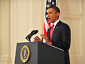 United States President Barack Obama speaks in a rare prime-time address to the nation on Monday, July 25, 2011 from the East Room of the White House in Washington, DC, as polarized lawmakers failed to rally behind a plan to avert a disastrous debt default perhaps just one week away. .Credit: Jim Watson / Pool via CNP