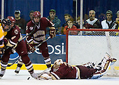 ?, Tommy Cross (BC - 4), Patrick Wey (BC - 6), John Muse (BC - 1) - The Merrimack College Warriors defeated the Boston College Eagles 5-3 on Sunday, November 1, 2009, at Lawler Arena in North Andover, Massachusetts splitting the weekend series.