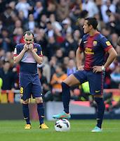FUSSBALL  INTERNATIONAL  PRIMERA DIVISION  SAISON 2012/2013   26. Spieltag  El Clasico   Real Madrid  - FC Barcelona        02.03.2013 Andres Iniesta (Barca) enttaeuscht