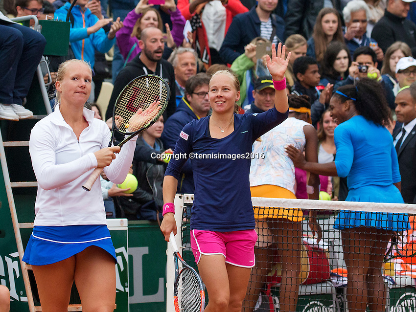 Paris, France, 29 June, 2016, Tennis, Roland Garros, Womans doubles: Kiki Bertens (NED) and her partner Johanna Larsson (SWE) (R) defeat the Williams sisters  <br /> Photo: Henk Koster/tennisimages.com