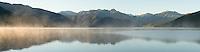 Lake Kaniere at sunrise, Hokitika, South Westland, West Coast, New Zealand, NZ