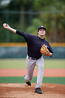 GCL Yankees East starting pitcher Charlie Ruegger (13) delivers a pitch during the second game of a doubleheader against the GCL Pirates on July 31, 2018 at Pirate City Complex in Bradenton, Florida.  GCL Pirates defeated GCL Yankees East 12-4.  (Mike Janes/Four Seam Images)