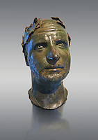Bronze head of possibly Trebonianus Gallus, 251-253 A.D., inv 15032, Vatican Museum Rome, Italy, grey background