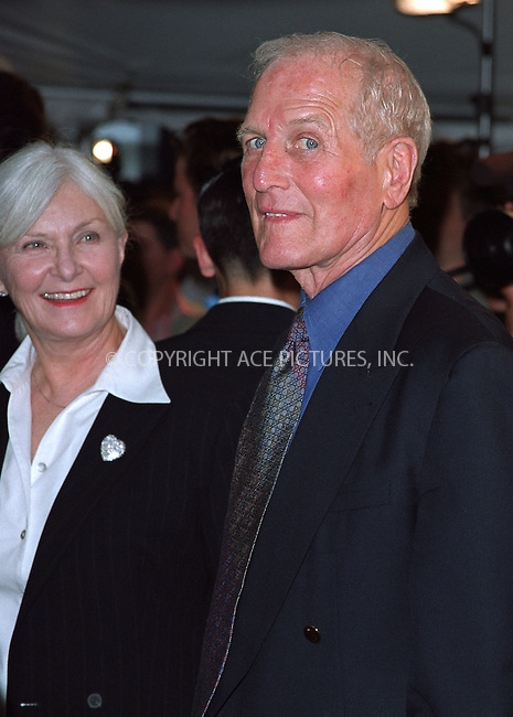"Paul Newman and Joanne Woodward attending a special screening of his movie ""Road to Perditon"" to benefit the Association of the HITWG Camps and the International Rescue Committee. New York, July 9, 2002.  Please byline: Alecsey Boldeskul/NY Photo Press.   ..*PAY-PER-USE*      ....NY Photo Press:  ..phone (646) 267-6913;   ..e-mail: info@nyphotopress.com"
