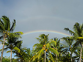 Flic en Flac, Mauritius. La Pirogue tourist resort. Rainbow over palm trees.