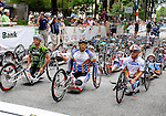May 28, 2012: Racers gather at the starting line for the 2012 U.S. Handcycling Criterium National Championships, Greenville, SC.
