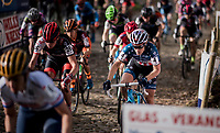 Katie Compton (USA/KFC Racing p/b Trek/Panache) during the women's race start up the infamous (and steep) Koppenberg cobbles<br /> <br /> Koppenbergcross / Belgium 2017