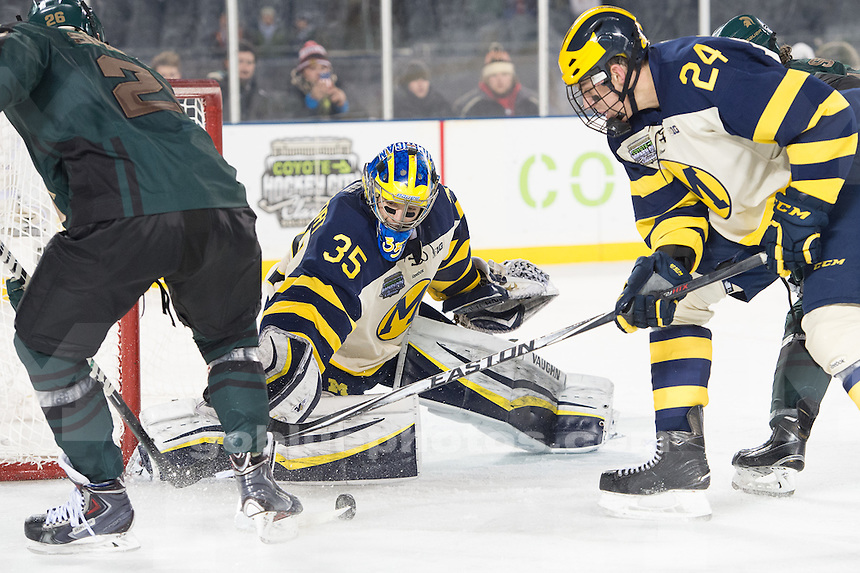 The University of Michigan ice hockey team, 4-1 victory over Michigan State University in the Coyote Classic at Soldier Field in Chicago, Illinois on Feb. 7, 2015.