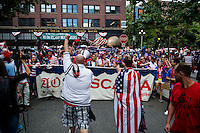 Seattle, WA - Thursday, June 16, 2016: USA fans march to to the match for the Quarterfinal of the 2016 Copa America Centenrio.