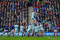 8th March 2020; Murrayfield Stadium, Edinburgh, Scotland; International Six Nations Rugby, Scotland versus France; Scott Cummings of Scotland wins a lineout