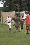 Spear weapons display Ormsgard Anglo-Saxon re-enactors, Suffolk, England