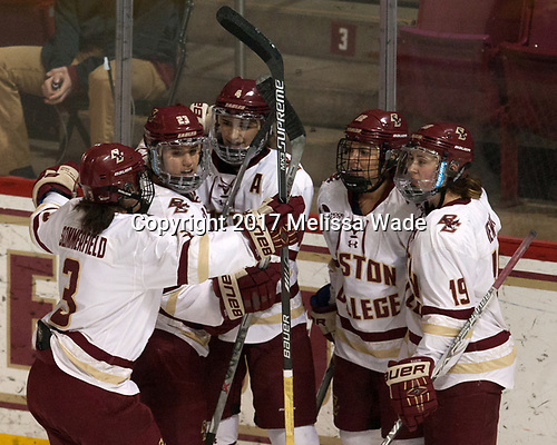 Serena Sommerfield (BC - 3), Andie Anastos (BC - 23), Megan Keller (BC - 4), Kenzie Kent (BC - 12), Makenna Newkirk (BC - 19) - The number one seeded Boston College Eagles defeated the eight seeded Merrimack College Warriors 1-0 to sweep their Hockey East quarterfinal series on Friday, February 24, 2017, at Kelley Rink in Conte Forum in Chestnut Hill, Massachusetts.The number one seeded Boston College Eagles defeated the eight seeded Merrimack College Warriors 1-0 to sweep their Hockey East quarterfinal series on Friday, February 24, 2017, at Kelley Rink in Conte Forum in Chestnut Hill, Massachusetts.