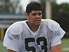 Kyle Nuñez #53, East Islip lineman, practices at Hofstra University on on Monday, June 19, 2017 in preparation for the 22nd annual Empire Challenge. The best seniors from Long Island will battle their New York City counterparts on Wednesday, June 21 at Shuart Stadium.