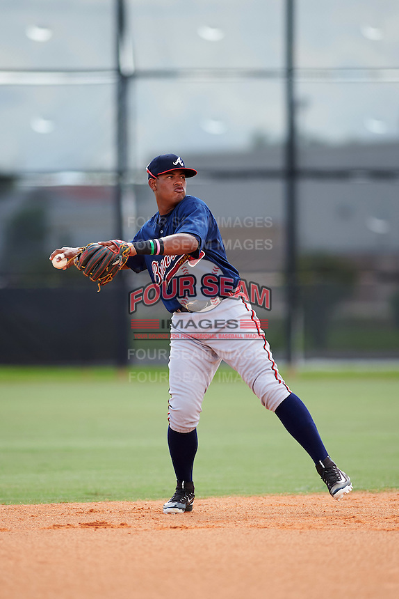 Atlanta Braves shortstop Kevin Maitan (14) during an Instructional League game against the Houston Astros on September 26, 2016 at Osceola County Stadium Complex in Kissimmee, Florida.  (Mike Janes/Four Seam Images)