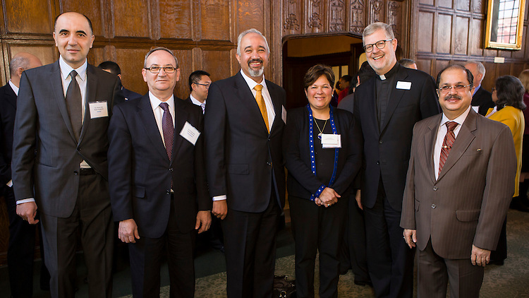 Left to right, The Honorable Dejan Radulovic, Acting Consul General of Serbia, The Honorable Jakup Redzepi, Consul General of Macedonia, The Honorable Faisal Niaz Tirmizi, Consul General of Pakistan, The Honorable Patricia Maza-Pittsford, Consul General of El Salvador, The Rev. Dennis H. Holtschneider, C.M., president of DePaul and The Honorable Ausaf Sayeed, Consulate General of India, pose for a photo as members of the Consular Corps and the DePaul community gathered for the annual Consular Corps Luncheon, Tuesday, April 12, 2016, on DePaul's Lincoln Park Campus. The Rev. Dennis H. Holtschneider, C.M., president of DePaul, introduced the keynote speaker, Jeff Malehorn, president and CEO of World Business Chicago. Malehorn's keynote address focused on the myriad of advantages businesses have when choosing Chicago as their headquarters. (DePaul University/Jeff Carrion)