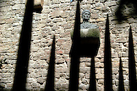 "Bust of Durante degli Alighieri (""Dante"") placed on his, said to be house. Florence, Italy<br />"