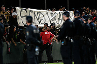 28th February 2020; Netstrata Jubilee Stadium, Sydney, New South Wales, Australia; A League Football, Sydney FC versus Western Sydney Wanderers; the RBB fans make a statement with a banner as the police watch on