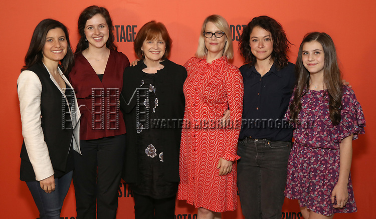 Susan Pourfar, Emma Geer, Blair Brown, Kellie Overbey, Tatiana Maslany, and Mia Sinclair Jenness during the photo call for the Second Stage production of 'Mary Page Marlowe' on June 12, 2018 in New York City.