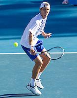 MATHEW EBDEN (AUS) against KEI NISHIKORI (JPN) in the second round of the Men's Singles. Kei Nishikori beat Mathew Ebden 3-6 1-6 6-4 6-1 6-1 ..19/01/2012, 19th January 2012, 19.01.2012..The Australian Open, Melbourne Park, Melbourne,Victoria, Australia.@AMN IMAGES, Frey, Advantage Media Network, 30, Cleveland Street, London, W1T 4JD .Tel - +44 208 947 0100..email - mfrey@advantagemedianet.com..www.amnimages.photoshelter.com.