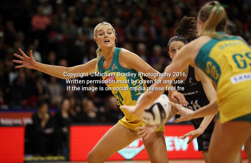 20.10.2016 Australia's Gretel Tippett in action during the Silver Ferns v Australia netball test match played at ILT Stadium in Invercargill. Mandatory Photo Credit ©Michael Bradley.