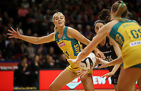 20.10.2016 Australia's Gretel Tippett in action during the Silver Ferns v Australia netball test match played at ILT Stadium in Invercargill. Mandatory Photo Credit ©Michael Bradley.