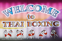 Welcome to Thai Boxing sign, Chiang Mai, Thailand
