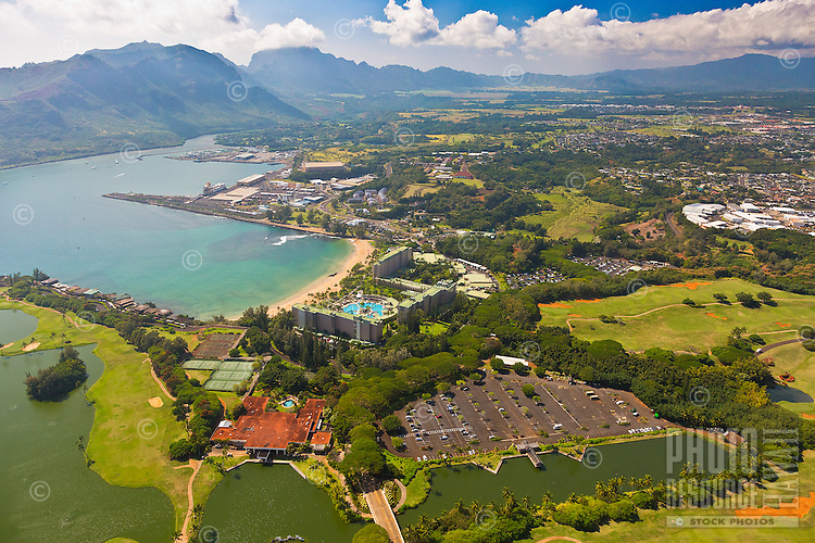 An aerial view of Kaua'i on a sunny day.