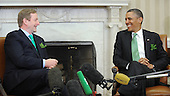 United States President Barack Obama meets with Prime Minister Enda Kenny of Ireland in the Oval Office of the White House March 19, 2013 in Washington, DC. .Credit: Olivier Douliery / Pool via CNP
