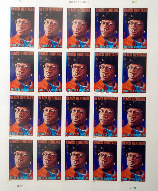 WATERBURY, CT FEBRUARY 11, 2014_ 020714JS06-Stamps honoring Shirley Chisholm (1924-2005) , the first black woman ever elected to Congress and the 1963 March on Washington were the two stamps released this year in honor of Black History Month. <br /> Jim Shannon Republican-American